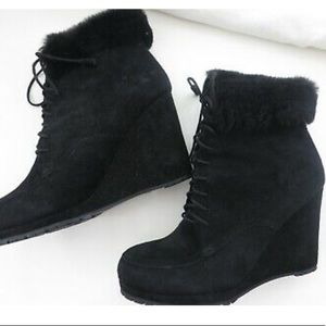 LK Bennett Charing Black Suede Wedge Booties 10.5